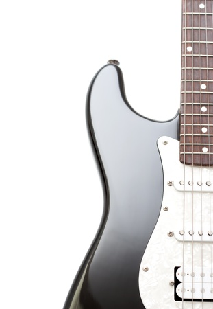 fretboard: Electric guitar over white background