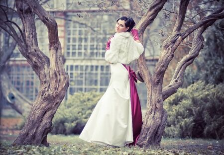 Beautiful bride in wedding dress nearly tree photo
