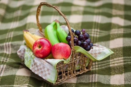 Basket with different fruits on the checked plaid Stock Photo - 16933645