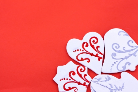 Different shaped candies on the red background Stock Photo - 16933647