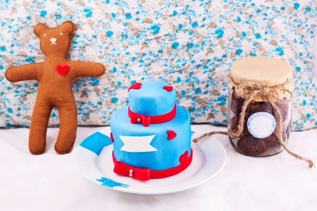 Christmas composition with cake, bear and jar with cookies Stock Photo - 16933658