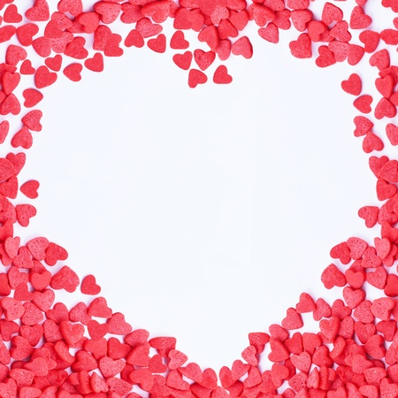 heart Frame made of small red hearts on the white background Stock Photo - 17248938