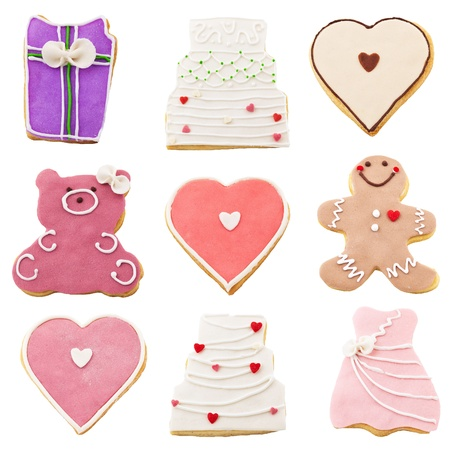 cookies for Valentines Day over white