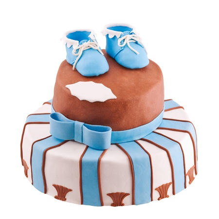 bootee: isolated striped cake with baby bootee Stock Photo