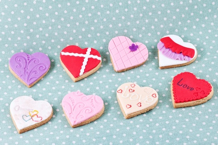 Heart shaped cookies different colors for valentine s day photo