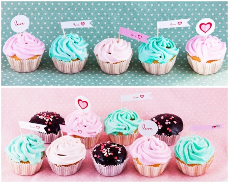 chokolate cupcakes with hearts on pink background