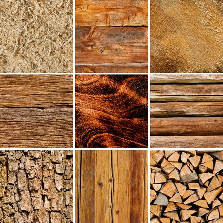 Wood textures collage with sawdust and bark