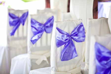 White wedding chairs decorated with purple bows photo