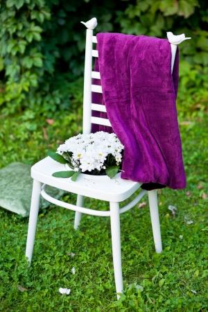 wedding chairs: White wedding chairs  Stock Photo