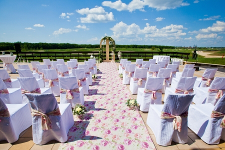 wedding set up in golf field Stock Photo