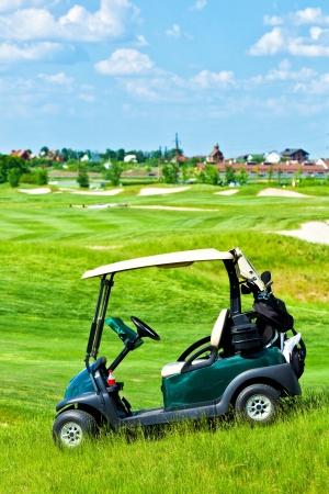 Golf club car at golf field Stock Photo