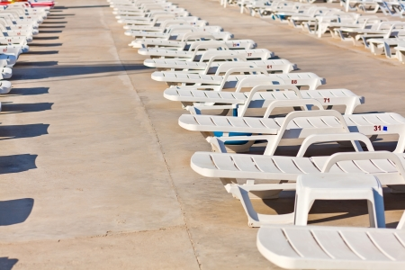 white lounge chairs  Stock Photo