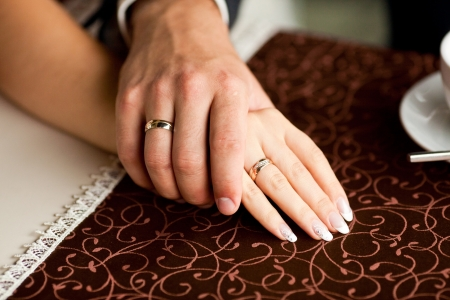 just married have wedding rings Stock Photo