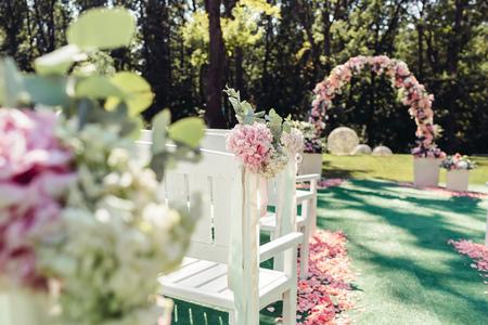 Beautiful wedding set up in a garden