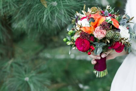 cope: marsala rustic wedding bouquet with red rose with cope space
