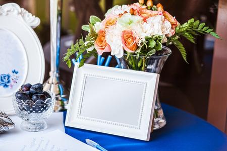 Wedding invitation on table Stock Photo