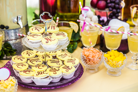 Delicious sweeties and beverages, staying on dessert table