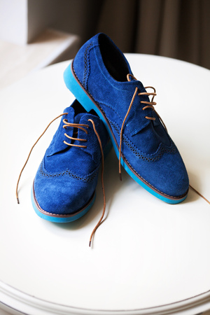 Pair of elegant grooms blue shoes