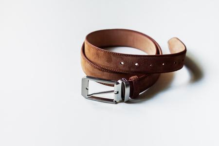 chrome man: Leather belt isolated on white background.