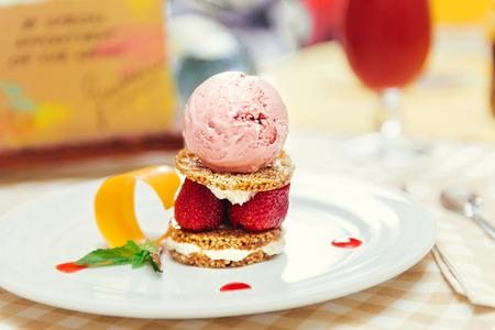 Strawberry ice cream dish with fresh cookie Stock Photo