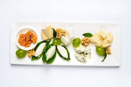 Various cheese type dish served luxery, isolated