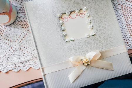 Gift table and guest book during a wedding reception. Top view Stock Photo