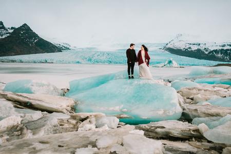 Glacier Lagoon. Wedding in Iceland. Artwork. Copy space