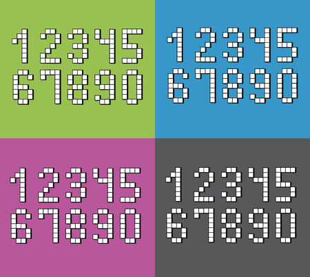 color backgrounds: Set of flat pixel numbers on four different color backgrounds.