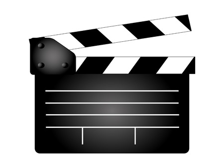 movie clapper board, movie maker vector. Illustrator Ilustracja