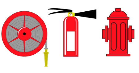 Fire hydrant and fire extinguisher vector illustration Vector