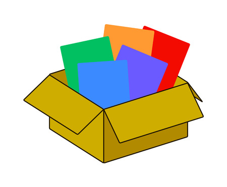 stockpile: Collection recycle brown box packaging. vector illustration.