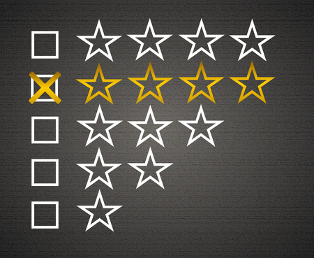 matted: Five matted yellow web button stars ratings with reflection. Black background..