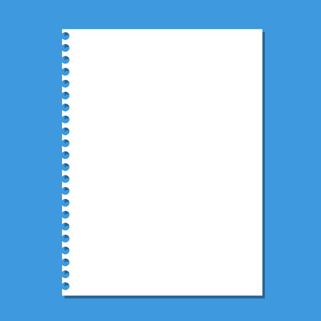 Blank stack white note paper on blue background. Vectores