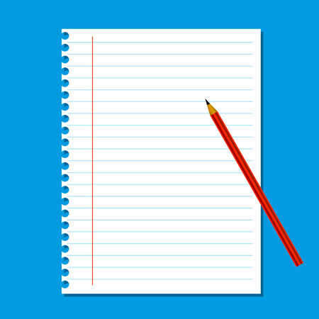 Blank stack white note paper on blue background, red pencil Vector