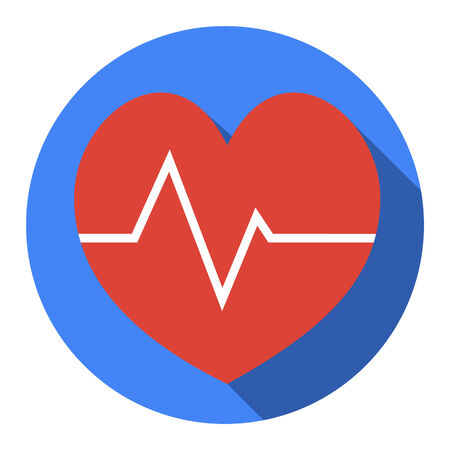 Heartbeat sign icon. Cardiogram symbol. Circle buttons with long shadow. Vector, Vector