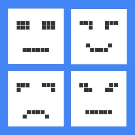 Set of basic emoticons in flat design. Vector