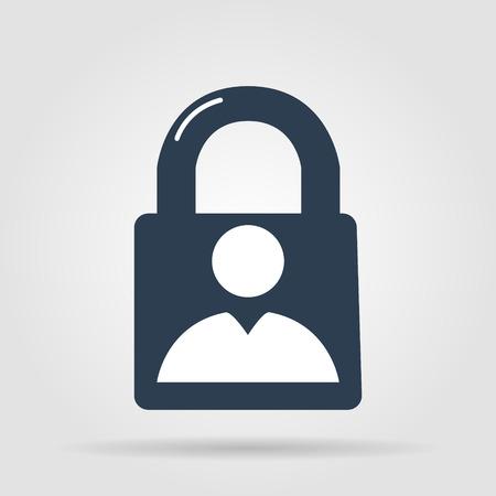 lock icon and man.  Vector flat Illustrator EPS 10 Vector