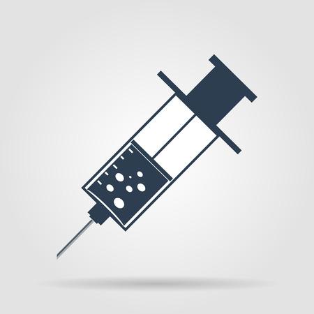 syringe inoculation: syringe Flat Icon , isolated on white background,