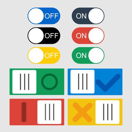 kippschalter: Vector Kippschalter Symbole. Ein und Aus Position und H�kchen. Illustration