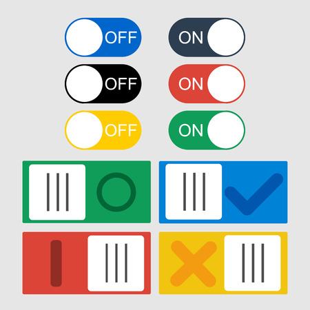Vector Toggle switch icons. On and Off position and Check Mark.