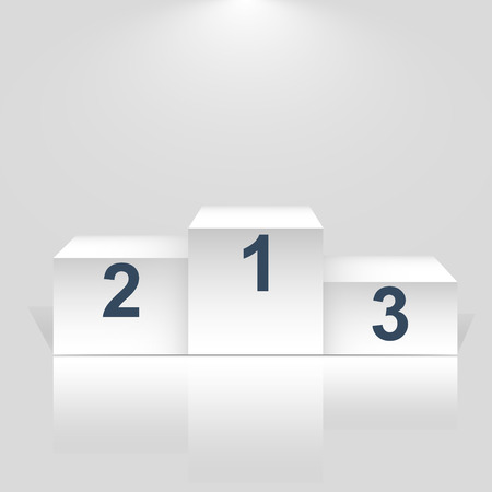 Winner podium with number on white - Vector.