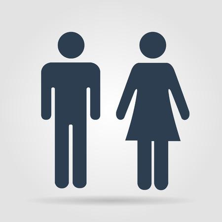 sexo femenino: Vector hombre y mujer iconos, muestra del tocador, icono ba�o, estilo minimalista, pictograma