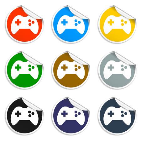 joypad: Icono de dispositivo de juego. Conjunto de pegatinas en blanco Eps