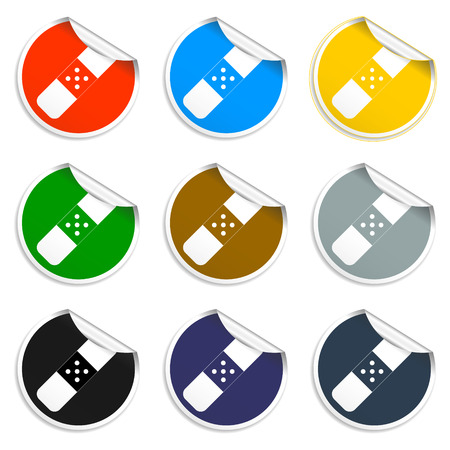 Plaster icon on gray background. Flat  illustrator Vector
