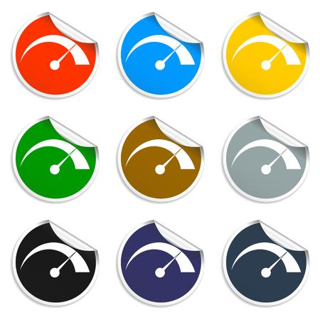 dsl: Vector tachimetro icona piatto illustratore vettoriale Eps Vettoriali