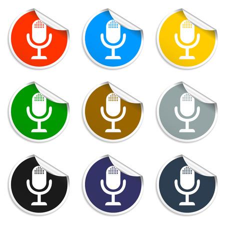 microphone web icon, flat design vector EPS Illustration