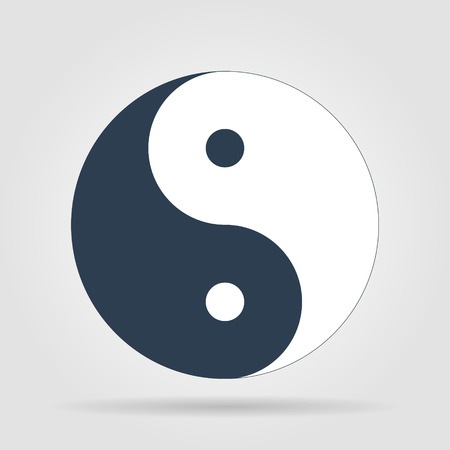 male symbol: Yin Yang Symbol - Black and White Vector Illustration
