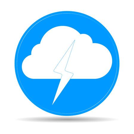 Lightning bolt weather flat line icon infographic illustration template for web or brochure. Vector illustration. Vector