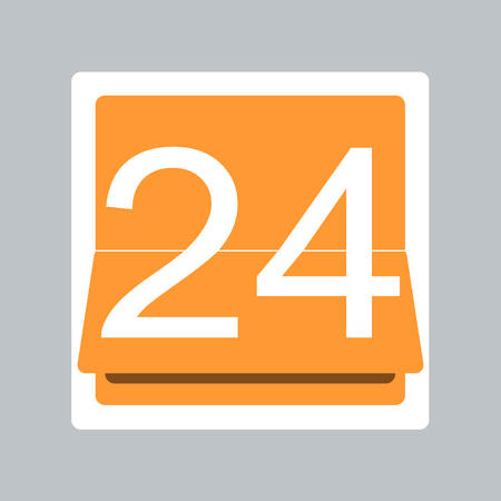 24 hr: Simple icon with open 24 hr text on flip style calendar.