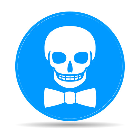 cross ties: Skull icon isolated, tie. Flat vector illustrator Eps